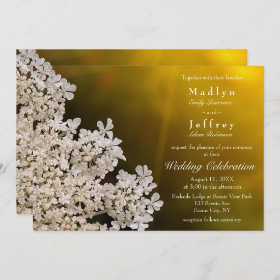 Queen Anne's lace summer floral wedding Invitation