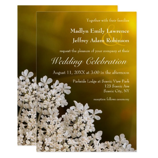 Queen Anne's lace sunlight wedding invitation