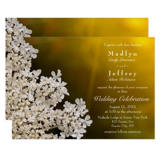 Queen Anne's lace sunlight wedding invitation