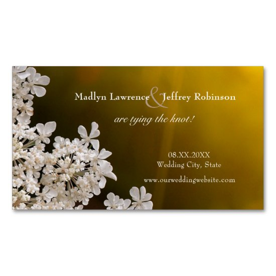 Queen Anne's Lace sunlight wedding save the date Magnetic Business Card
