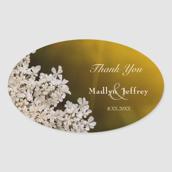 Queen Anne's lace wedding thank you Oval Sticker