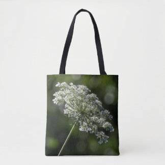 Queen Anne's Lace White Wildflower Tote Bag