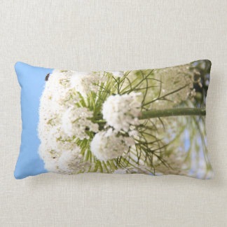 Queen Anne's white Lace flower against blue sky Throw Pillow
