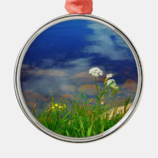 Queen Ann's lace flowers, blue mountain lake Metal Ornament