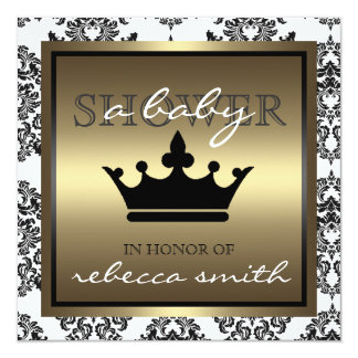 Queen Baby Shower Invitation - Black and Gold