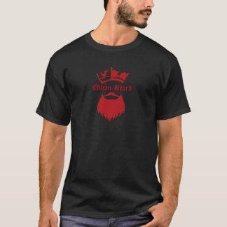 Queen Beard strong font Red on Black T-Shirt