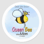 Queen Bee - aka Mom Round Stickers