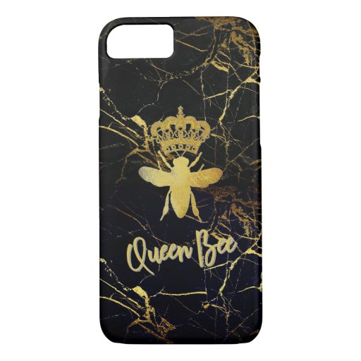 QUEEN BEE Black & Gold Marble IPhone CASE