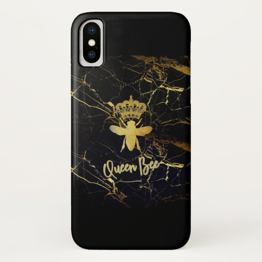 QUEEN BEE Black & Gold Marble IPhone X CASE