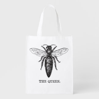 Queen Bee Classic Illustration Reusable Grocery Bag
