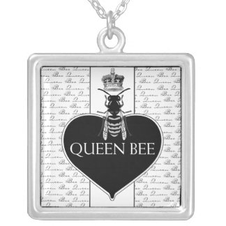 Queen Bee & Crown Square Pendant Necklace