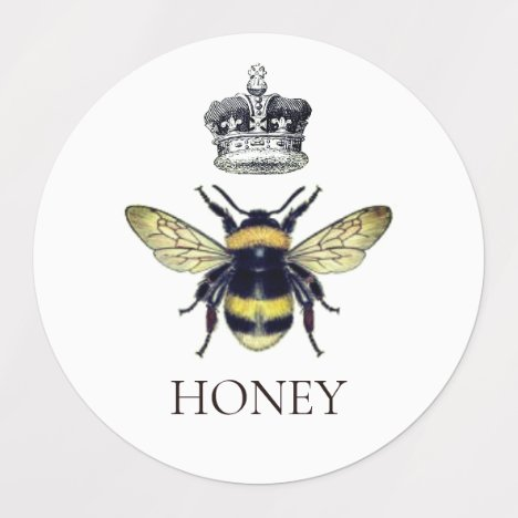 Queen Bee & Crown White Honey Labels