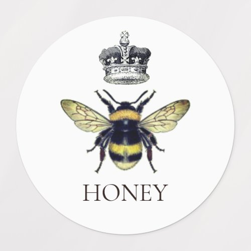 Queen Bee & Crown White Honey Labels