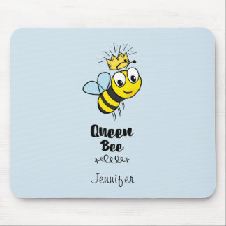 Queen Bee Cute Bumble Bee with Crown Personalized Mouse Pad