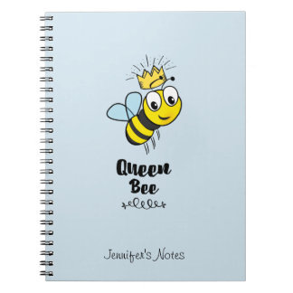 Queen Bee Cute Bumble Bee with Crown Personalized Notebook