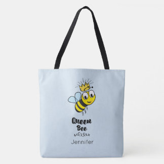 Queen Bee Cute Bumble Bee with Crown Personalized Tote Bag
