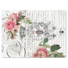 Queen Bee Floral Script Decoupage Sheet