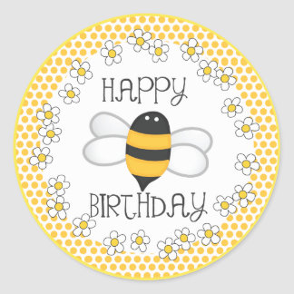 Queen Bee Happy Birthday Party Favor Round Stickers