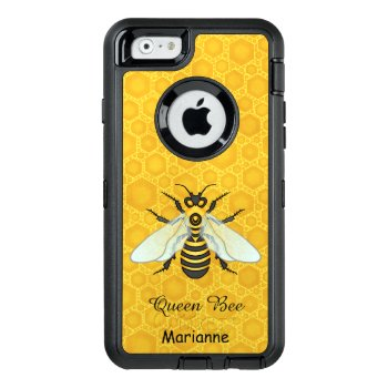 Queen Bee Honeybee Honeycomb Pretty | Add Name Otterbox Defender Iphone Case by FancyCelebration at Zazzle
