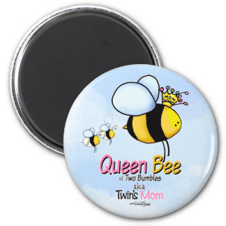 Queen Bee Mom of Twins button Fridge Magnets