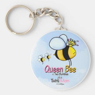 Queen Bee Mom of Twins keychain