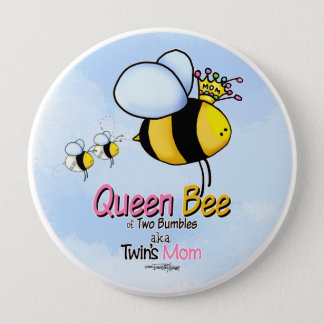 Queen Bee Mom of Twins Pinback Button
