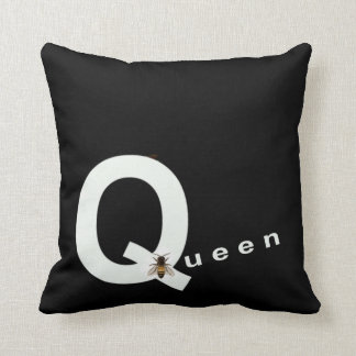 Queen Bee Pillow For Her Home Decor Black White
