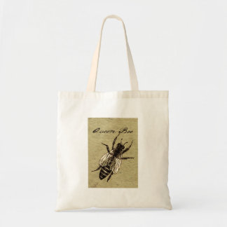 Queen Bee Vintage Black and White Art Print Tote Bag