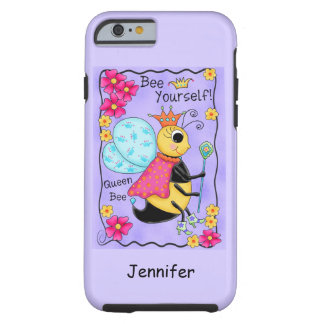 Queen Bee Whimsy Honey Bee Art Purple Personalized Tough iPhone 6 Case