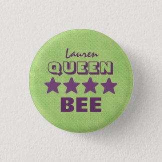 QUEEN BEE with Stars GREEN and PURPLE Boss V20C Button