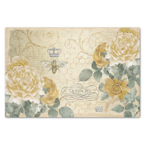 Queen Bee Yellow Roses with Damask Floral  Tissue Paper