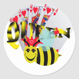 queen bees royal flush classic round sticker
