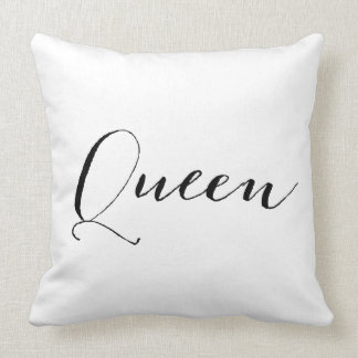 """Queen"" Black and White Throw Pillow"