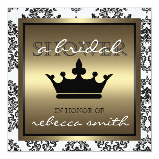 Queen Bridal Shower Invitation - Black and Gold