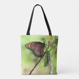 Queen Butterfly and Monarch Caterpillar Tote Bag
