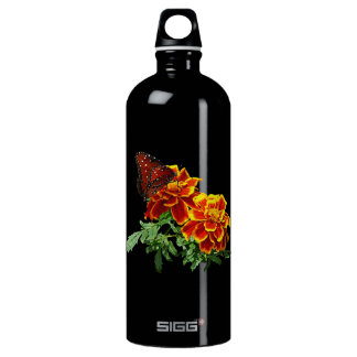 Queen Butterfly on Marigold Aluminum Water Bottle
