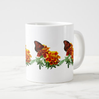 Queen Butterfly on Marigold Large Coffee Mug