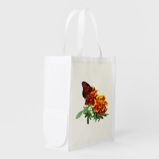 Queen Butterfly on Marigold Reusable Grocery Bag