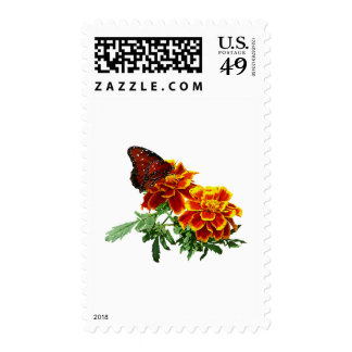 Queen Butterfly on Marigold Stamps