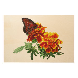Queen Butterfly on Marigold Wood Wall Decor