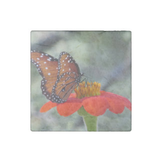 Queen Butterfly on Mexican Sunflower Stone Magnet