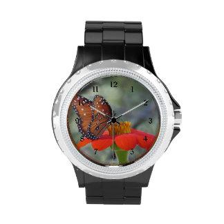 Queen Butterfly on Mexican Sunflower Wristwatch
