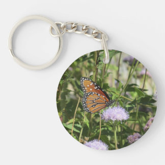 Queen Butterfly on Purple Flower Double-Sided Round Acrylic Keychain