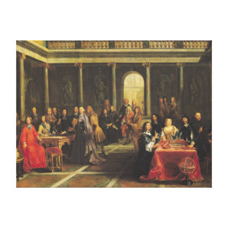 Queen Christina of Sweden  and her Court Canvas Print