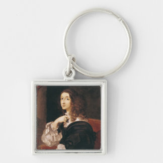 Queen Christina of Sweden Silver-Colored Square Keychain