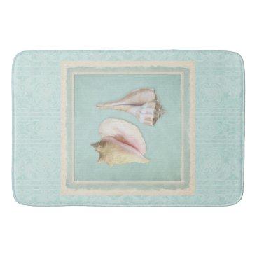Beach Themed Queen Conch Lightning Whelk Seashells Shells Beach Bath Mat