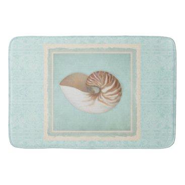 Beach Themed Queen Conch Lightning Whelk Seashells Shells Beach Bathroom Mat