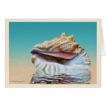 Beach Themed Queen Conch Sea Shell Ocean Blue Card