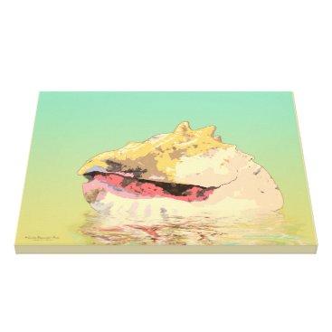 Beach Themed Queen Conch Sea Shell on Aqua Canvas Print