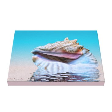linda_mn Queen Conch Sea Shell Pink and Turquoise Canvas Print